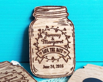 Save the Date Magnet-Mason Jar Save the Date Magnet-Wedding Save the Date-Wood Save the Date-Rustic Wedding Save the Date-Wedding Invitation
