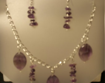 Amethyst stone necklace/earring set