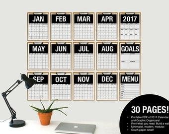 Printable Modern Modular Wall Calendar and Organizers! 2017 Big, Bold, B&W, Simple, Yearly, Monthly, Shopping, Goals, Lists, Chores, Charts
