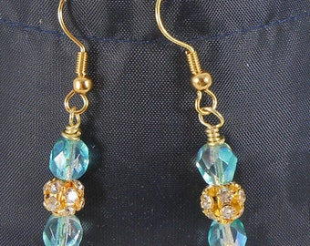 Light blue faceted glass bead drop earrings with sparkly accent bead