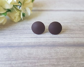 Brown earrings, Mens earrings brown, Brown stud earrings, Matte brown earrings, Brown jewelry, Earrings for him, Brown post earrings, Boho