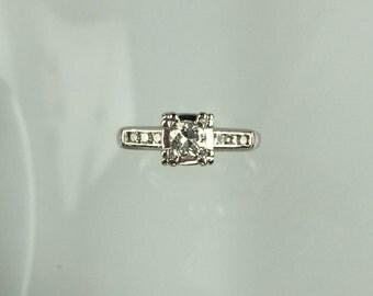 Vintage 1940's 14k white gold diamond engagement ring .28ct