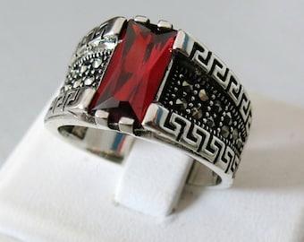 Handmade 925 Sterling Silver Red Zircon & Marcasite STONE  Men's RING #895