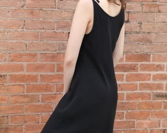 Minimalist Black Slip Dress w/ Adjustable Tie Straps -S/M