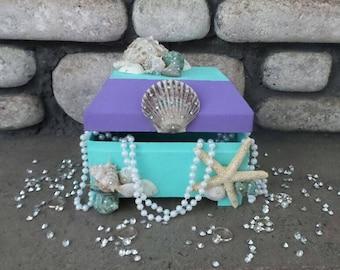 Mermaid Jewelry box, mermaid treasure chest  Under the sea jewelry box, under the sea treasure chest,mermaid birthday theme, under the sea