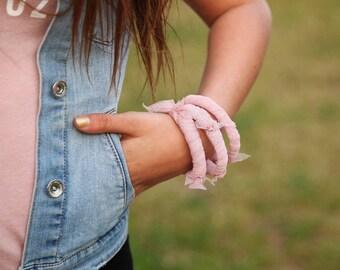 Bangle Stack Bracelets, Fabric bracelets, Stacking Bracelets, Fabric Wrapped Bracelet, charm bracelet Fabric, pink Bangle, Gypsy bracelet