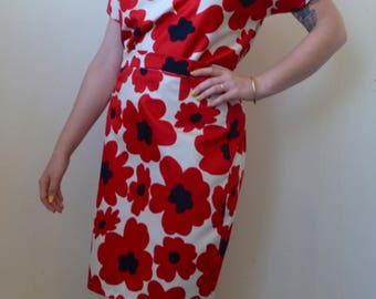 Large red flower material two piece- pencil skirt and top- set M/L