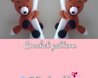 Fox curtain tie back crochet pattern PDF instant download PATTERN