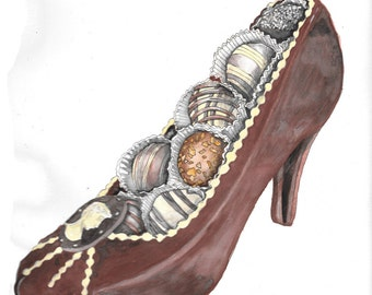 Chocolate  heel shoe watercolor hand drawn illustration