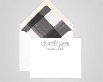 Couples Thank You Cards - Handwritten Notecards - Personalized Couples Stationery - Color - Modern Calligraphy - Wedding - Sets of 10