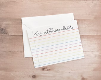 Rainbow Lined Teacher Notecards - Handwritten Modern Calligraphy Design - Personalized Stationery - Teacher Gift - Sets of 10 Back to School