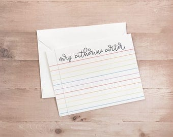 Rainbow Lined Teacher Notecards - Handwritten Modern Calligraphy Design - Personalized Stationery - Teacher Gift - Sets of 10