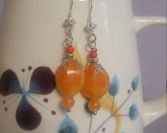 Beautiful Orange and Silver Earrings