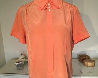 Salmon pink 1950s 50s blouse sz. small - medium