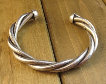 "Vintage Sterling Silver Mexico Twisted Rope Cuff Bracelet 6 1/2"" Wrist 33.1 Grams Signed"
