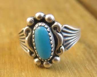 Vintage Turquoise Ring Size 2 Children's Size Southwest Native American Sterling Silver 925