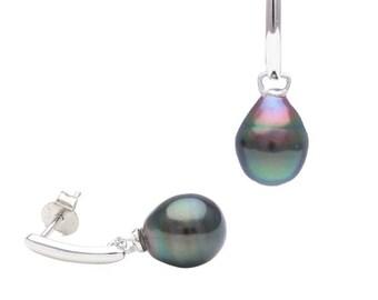 Tahitian pearl earrings - Silver - Bianca