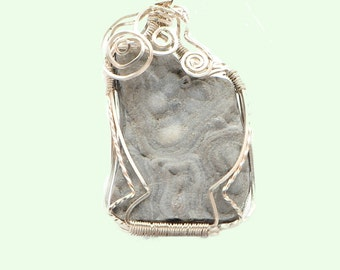 Grays  and White Swirl Chalcedony Druzy Pendant Sterling Silver Wrapped