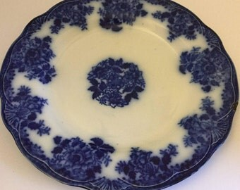 "Flow Blue Waldorf Pattern 10"" Dinner Plate, New Wharf Pottery, England Vintage 1894"