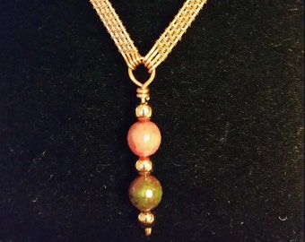 """22"""" Copper Weave Link Necklace with Agate Beads"""