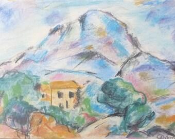 "My Cézanne (""Montagne Sainte Victoire"") from pastel and charcoal, original pastel drawing, landscape after Cézanne"