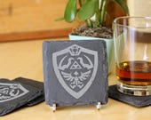 Link's Shield - Premium Natural Slate Coasters