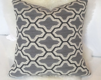 Charcoal, Black & Cream Moroccan-Inspired Throw Pillow w/ White Zipper - neutral throw pillow