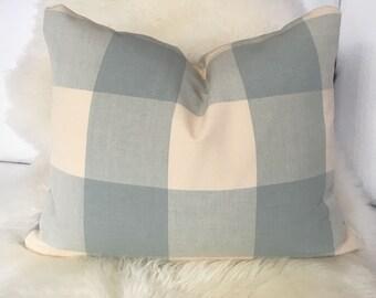 Cream & Powder Blue Throw Pillow in Buffalo Check Fabric - lumbar pillow
