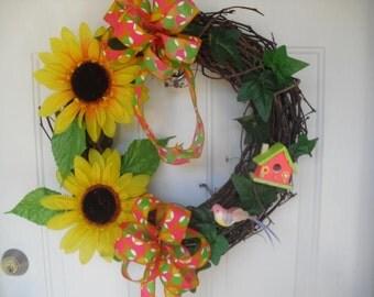 """18"""" Vine Sun Flower Wreath,  Summer Wreath, Spring Wreath"""