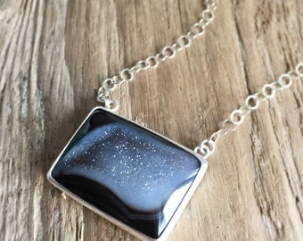 Black and White Druzy Quartz Necklace