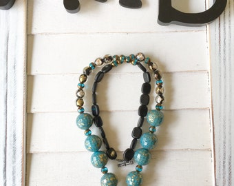 Long gemstone necklace, bracelet and earring set