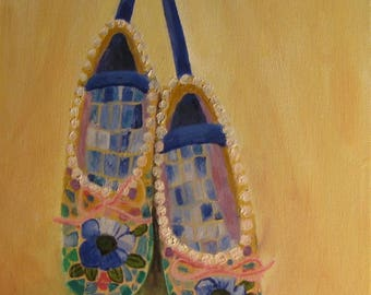 Still life original oil painting of mosaic ballet shoes.
