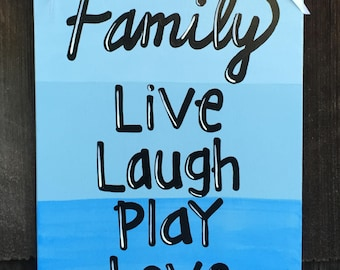 Family wood sign, Live Laugh Play Love door hanger, decoration, ombre