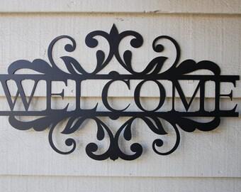 Welcome w/ Double Swirl, Welcome Metal Indoor/Outdoor Sign