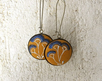Earrings with large Medallion - unique hand painted