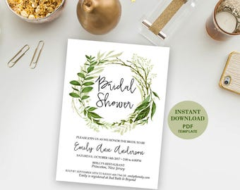 Editable Bridal Shower Invitation, Printable Template (Emily), Instant Download, Editable Text, Greenery, Garden Foliage Wreath Invite