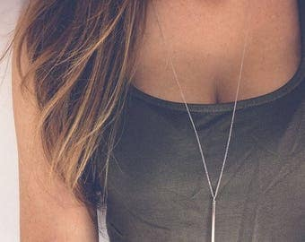 Fashion Jewelry Simple Sliver Gold-color Chain Necklace lariat Charm Bar Necklaces&Pendants For women gift