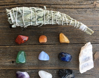 Chakra Stone Starter Kit, Chakra Crystals, and Smudge or Palo Santo Cleansing Tool