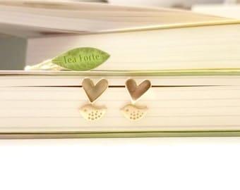 Heart Earrings, Bird Earrings, Gold heart Silver heart Valentine earrings