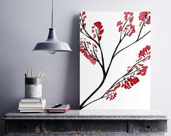 Sakura, Watercolor tree, Red tree, Botanical print, Hand drawn wall art, Affordable wall art, Downloadable print, Digital print, Nature