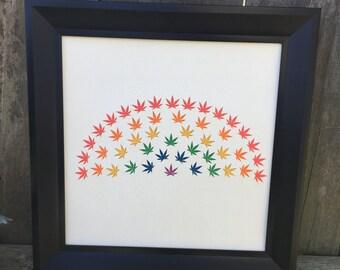 High Rainbow - cannabis inspired paper art, cannabis decorations, cannabis wall art