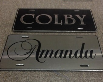 Custom Personalized Aluminum License Plates Mirror Chrome