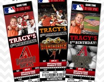 Arizona Diamond Backs Invitation, Arizona Baseball Invitation, Diamond Backs VIP Pass, Ticket Invitation, Arizona Save the Date Card