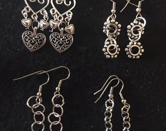 wire dangle heart and silver earrings