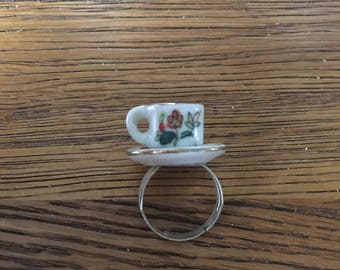 Miniature teacup ring - Vintage doll house - upcycled - red flower floral pattern design - adjustable