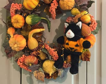 Pumpkin and Gourd Fall Wreath with Kitty (#009)