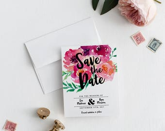 Save the Date | Printed Save the Date | Floral Invitation | Bright Flowers Save the Date | Pink Bright Floral Invitation | Flower | Eva