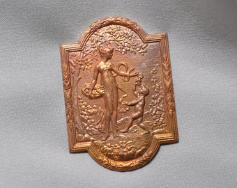 Vintage French Lady Emblem Neoclassical Louis XVI Pendant Raw Brass Gold Toned 1 Piece 364J