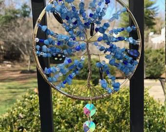 "5"" Celestial Blue Tree of Life Sun Catcher"