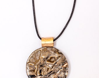 Bronze and polymer clay pendant handmade necklace